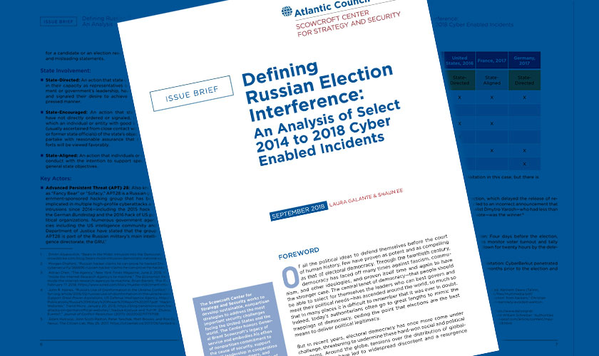 Laura authors Atlantic Council issue brief: Defining Russian Election Interference